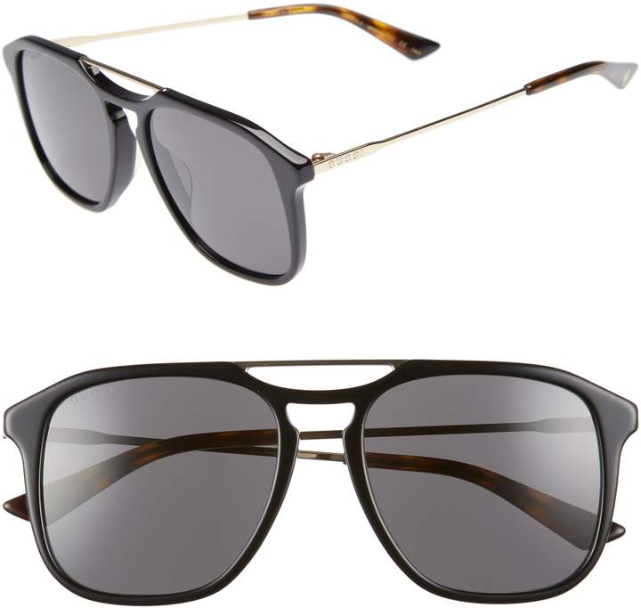 Gucci Light Combi 55mm Aviator Sunglasses