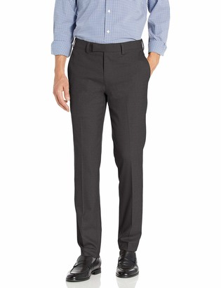 Louis Raphael Men's Slim Fit Flat Front Stretch Sharkskin Solid Dress Pant