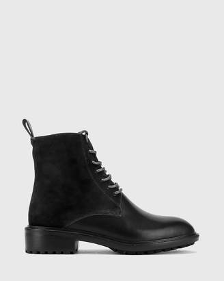 Wittner Dean Suede Leather Lace Up Flat Boots