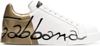 Dolce & Gabbana Gold Logo Printed Sneakers