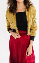 Ily Couture Gold Cropped Bomber