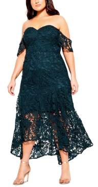 City Chic Trendy Plus Size High-Low Lace Mermaid Dress