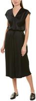 Vince Drape Silk Midi Dress
