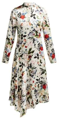 Erdem Sinclair Edith-print Asymmetric Silk Dress - Womens - White Multi