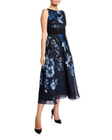 Lela Rose Floral Jacquard A-Line Dress
