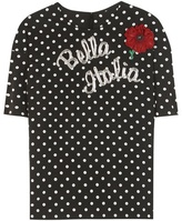 Dolce & Gabbana Embellished Printed Silk-blend Top