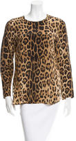 Sportmax Long Sleeve Leopard Print Top