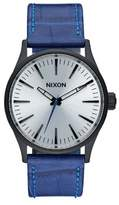 Nixon A377-2131 Sentry Blue Leather Bracelet With Silver Analog Dial Watch NWT