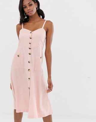 Vila button detail midi dress-Pink