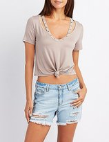 Charlotte Russe Studded Cut-Out Knotted Tee