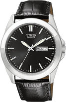 JCPenney Citizen Quartz Citizen Mens Black Dial Black Leather Strap Watch BF0580-06E