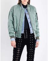 Unravel Distressed satin bomber jacket