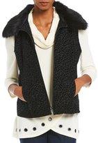 Multiples Detachable Faux-Fur Collar Zip Front Vest