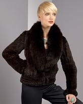 Women's Knitted Rex Rabbit Jacket with Fox Collar