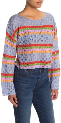 Skylar Rose Striped Pointelle Dolman Crop Sweater