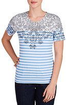 Allison Daley Short Sleeve Floral Brenton Stripe Print Knit Top