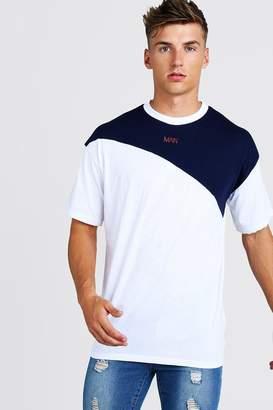 BoohoomanBoohooMAN Mens White Oversized Original MAN Colour Block T-Shirt, White