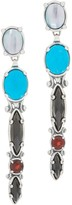 Couture Carolyn Pollack Sterling Silver Multi Gemstone Linear Earrings