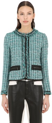 Karl Lagerfeld Paris Cotton Blend Boucle Jacket