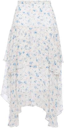 LoveShackFancy Alex Asymmetric Tiered Floral-print Silk-georgette Midi Skirt