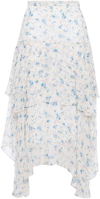 LoveShackFancy Asymmetric Tiered Floral-print Silk-georgette Midi Skirt
