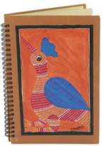 Handmade India Gond Tribal Folk Art Journal with Rooster, 'Gond Rooster'