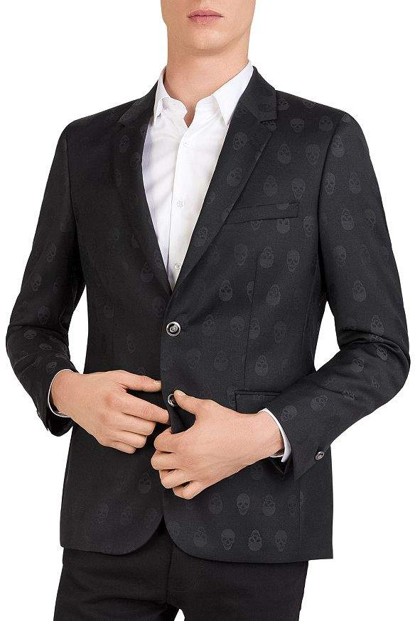 The Kooples Skull-Jacquard Slim Fit Blazer
