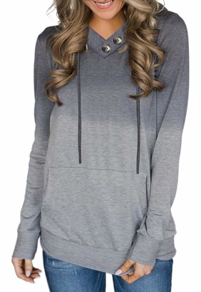 Ancapelion Womens Casual Grey Tie-dye Hoodies Sweatshirt Long Sleeve Pullover Hooded Tops with Button Pocket for Ladies