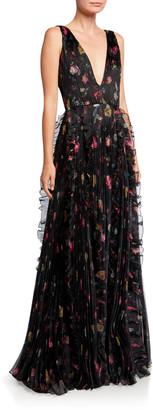 Flor et.al Nicole Rosebud V-Neck Sleeveless Ruffle-Trim Organza Gown