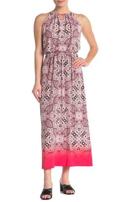 London Times Ombre Medallion Halter Maxi Dress