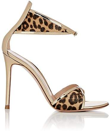 Gianvito Rossi Women's Leopard-Print Calf Hair Ankle-Strap Sandals - Beige, Tan