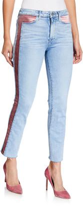 Paige Cindy Raw-Hem Jeans w/ Velvet Insets