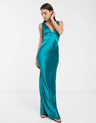 Asos Design DESIGN panelled satin maxi dress with cowl back-Blue