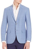 Corneliani Light Blue Plaid Blazer