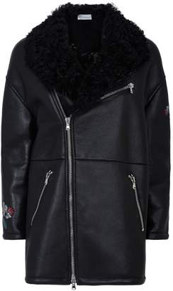RED Valentino Embellished Leather Shearling Coat