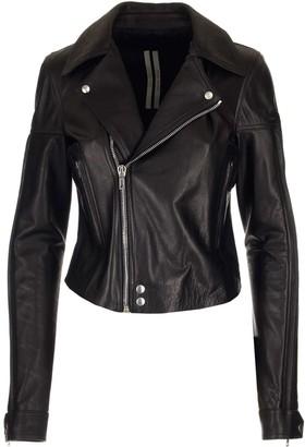 Rick Owens Cropped Biker Leather Jacket