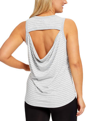 Yogalicious YOGALICIOUS Women's Tank Tops HGWST - Heather Gray & White Stripe Cutout Drape-Back Tank - Women