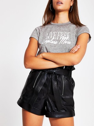 River Island Live Free Explore More Jersey T-shirt - Grey