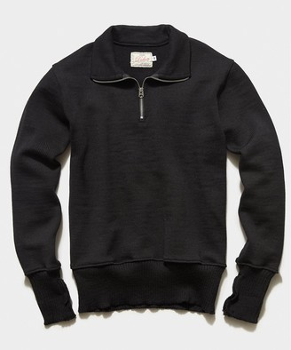 Dehen 1/4 Zip Motorcycle Sweater in Black