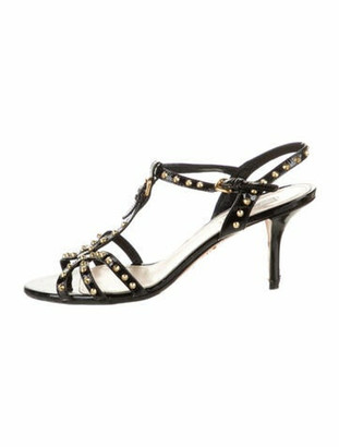 Prada Rockstud Accents Patent Leather T-Strap Sandals Black