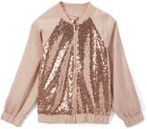 Speechless Blush Sequin Bomber Jacket - Girls