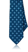 Barneys New York Men's Tessellated-Star-Print Silk Necktie-BLUE