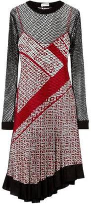 Altuzarra Kleber Layered Net And Printed Silk Dress