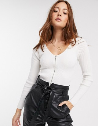 ASOS DESIGN rib v neck sweater with zip detail