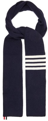 Thom Browne Striped Wool Scarf - Mens - Navy