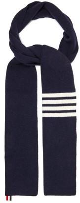 Thom Browne Striped Wool Scarf - Navy