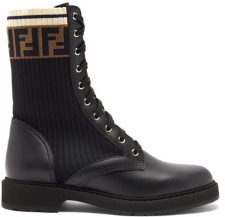 Fendi Knitted-panel Lace-up Leather Boots - Black