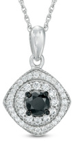 Zales 3/4 CT. T.W. Enhanced Black and White Diamond Tilted Square Frame Pendant in 10K White Gold
