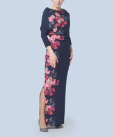 Navy & Pink Floral Maxi Dress - Plus Too