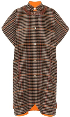 Burberry Leather-trimmed checked wool cape